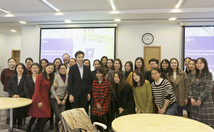 Professor Takaya with the English teachers from Changning School District who participated in the workshop