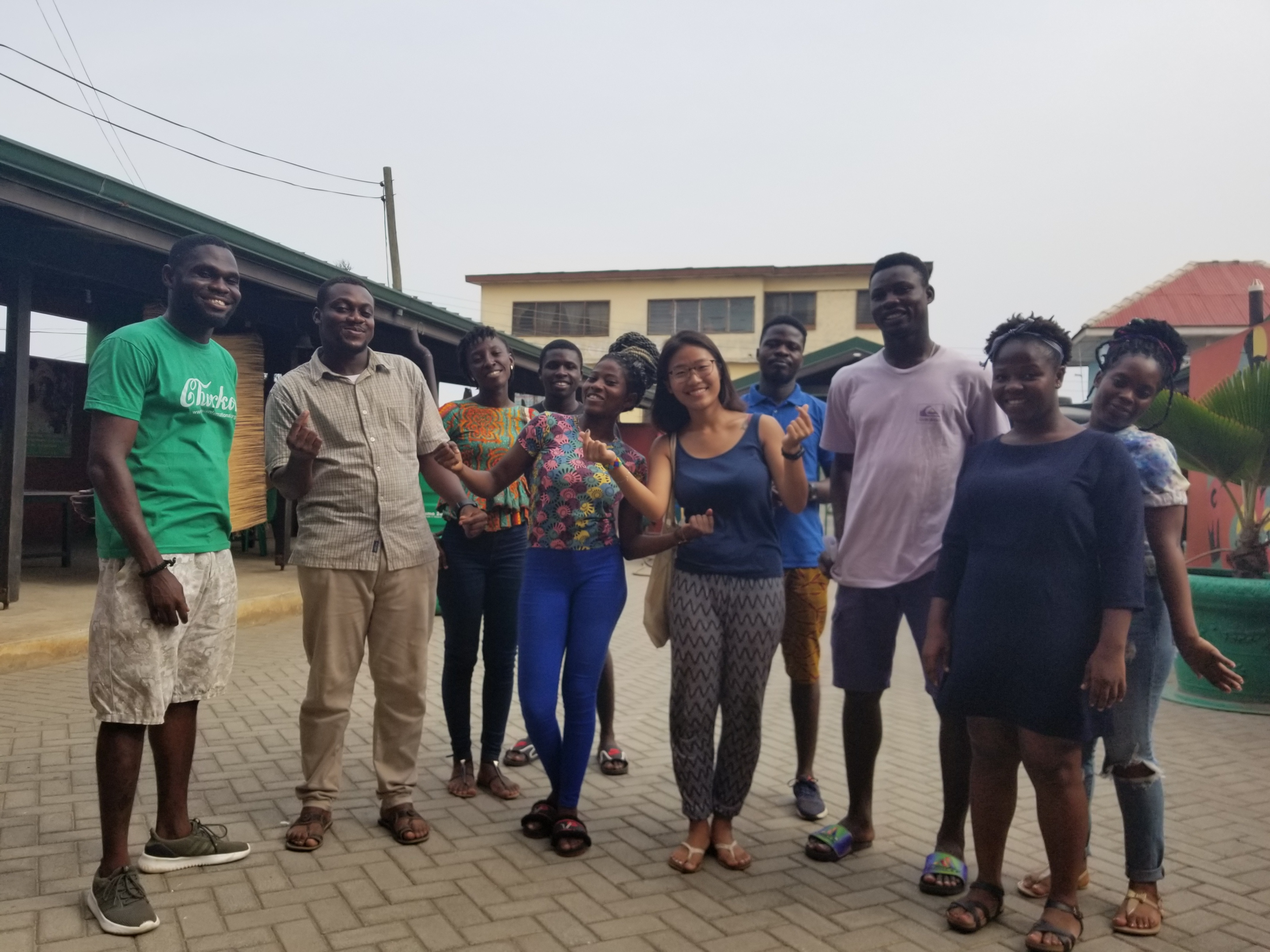 Kong with a group of friends and fellow volunteers in Ghana with the organization she volunteered at