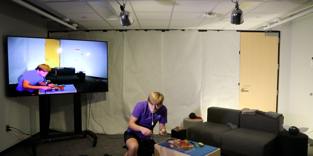 Student performing in-person and on video simultaneously