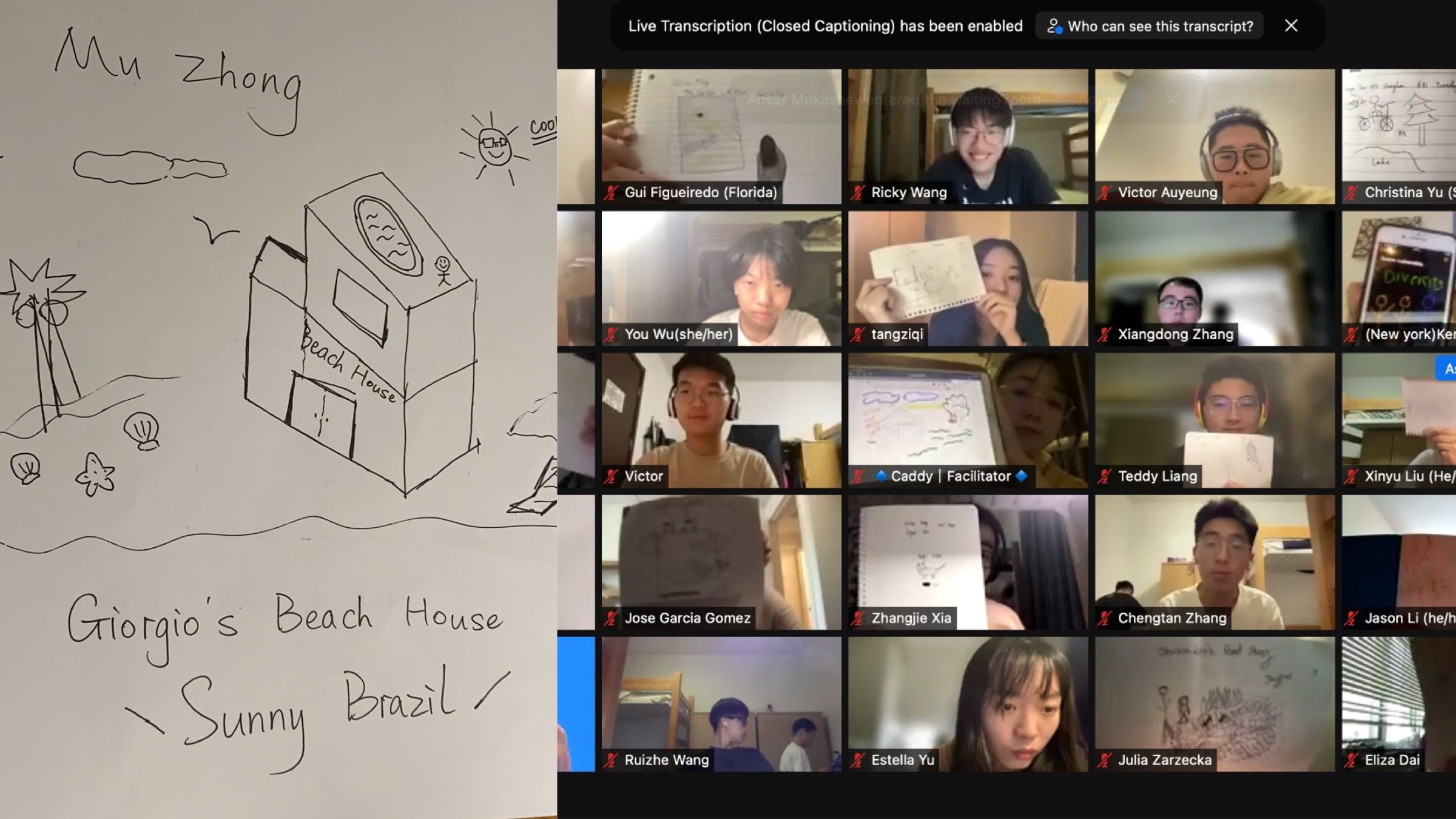 Left: Zhong Mu's drawing of her partner's beach house. Right: students hold up their drawings
