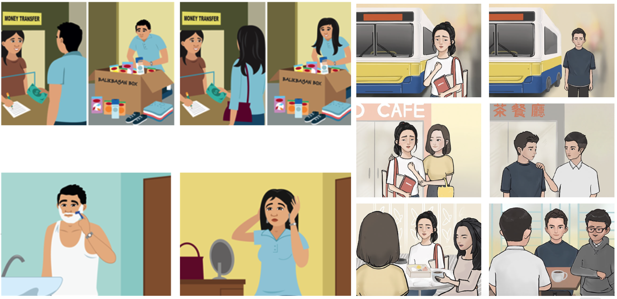 Illustrated panels show Filipino characters preparing care packages for relatives back home and Chinese characters enjoying social time with classmates