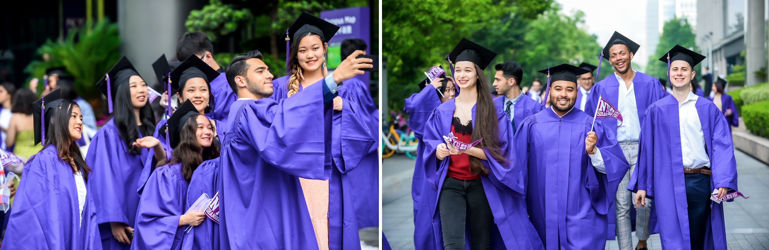 Two groups of students walk and pose together in purple graduation robes