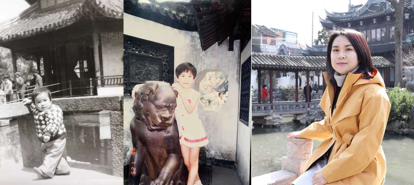 Zuo in a traditional Chinese garden as a baby, as a young girl, and as an adult