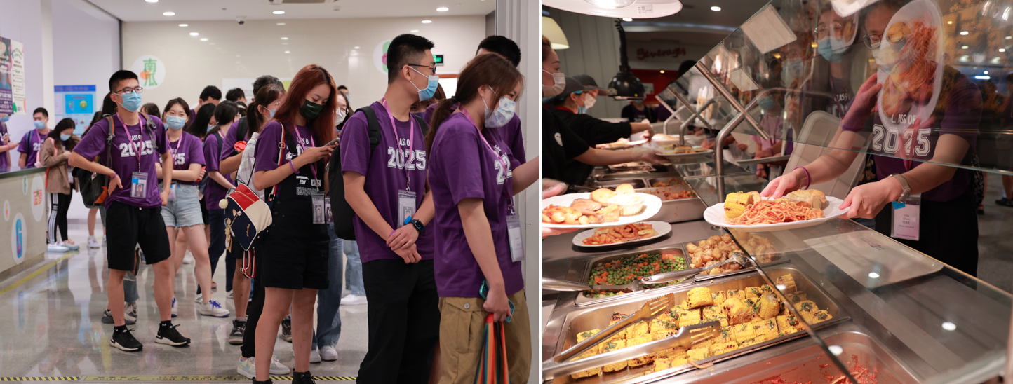 Students line up to get lunches in dining hall