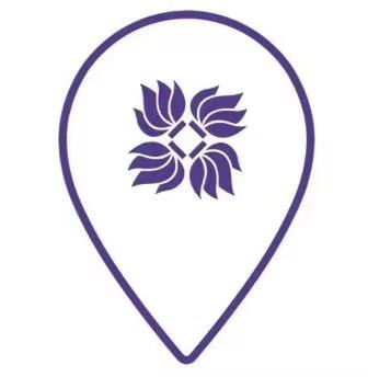 purple and white course logo