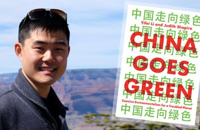 Author's profile photo with China Goes Green book cover