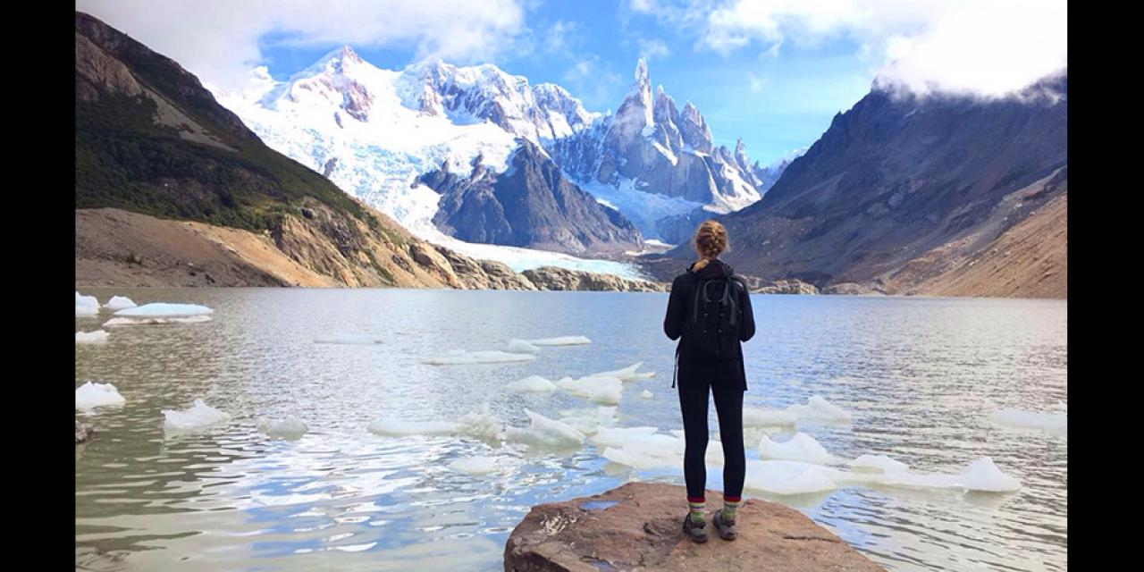 This photo was taken during a hiking trip in Patagonia in Argentina. My friends and I hiked all morning to see the glacier that's in the background of the photo, and the clouds cleared right when we arrived. It was a spectacular experience! - Elizabeth Leclaire (Buenos Aires)