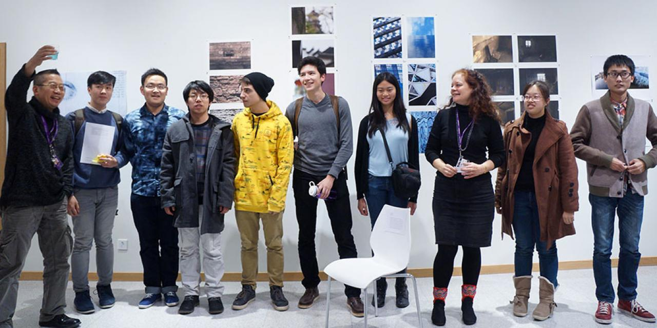 "Professors Barbara Edelstein and Jian-Jun Zhang join their students in showcasing ""Image Ination,"" an exhibit of original student photography compositions. December 10, 2014. (Photo by Charlotte San Juan)"