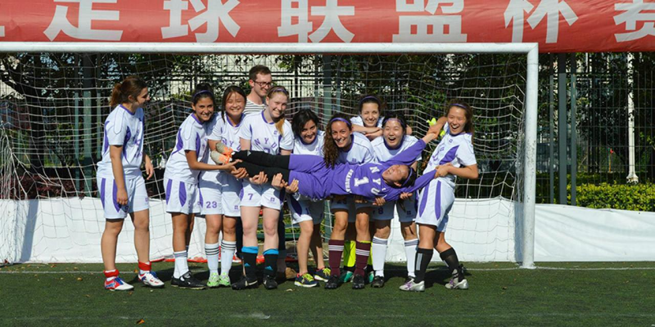 NYU Shanghai 3:1 beat Shanghai Normal University women's soccer team on Thursday. May 21, 2015. (Photo by Ronak Uday Trivedi)