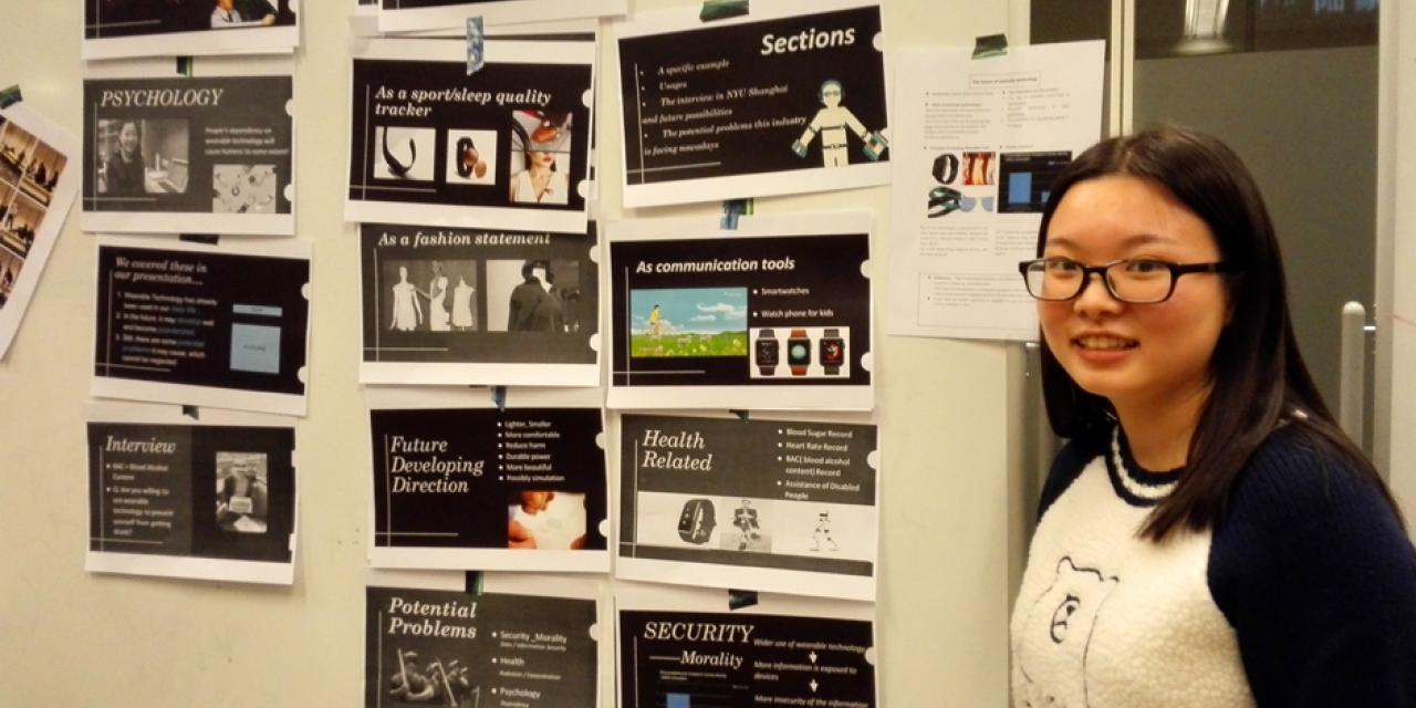 The English for Academic Purposes End-of-Semester show featured videos, posters and sample business pitches by students. (Photos by: NYU Shanghai)