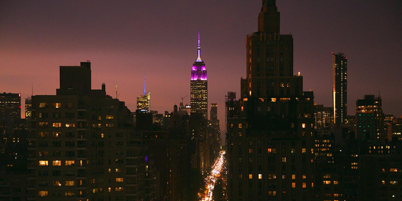 On the eve of the ceremony, the Empire State Building was lit violet to honor NYU's graduating class. (Photo by: Brooke Slezak)