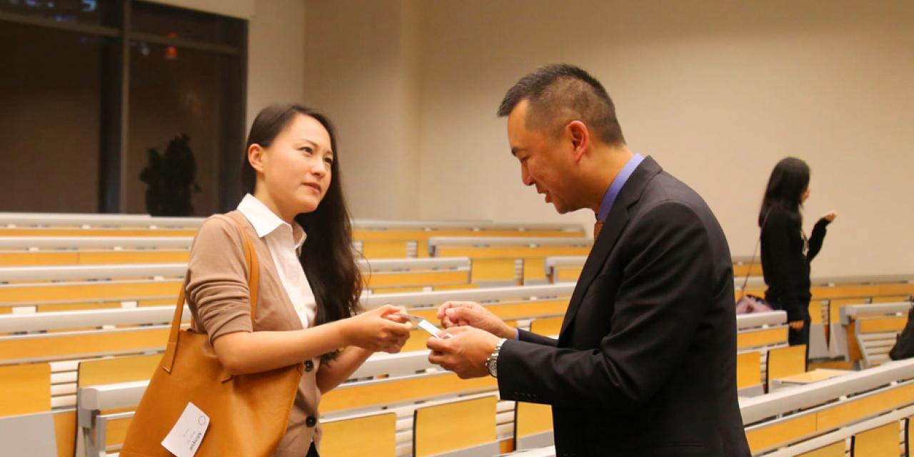 NYU Stern alumnus Walter Tong (MBA '93, Undergraduate '89) shares his career story and advice with NYU Shanghai students. Tong (right) is Greater China Managing Partner for Key Accounts at Ernst & Young. The session was moderated by fellow Stern alumnus Will Hsieh (MBA '00), Head of Regional F2P Publishing, Operations & Strategy at Electronic Arts Computer Software. (Photo by: NYU Shanghai)