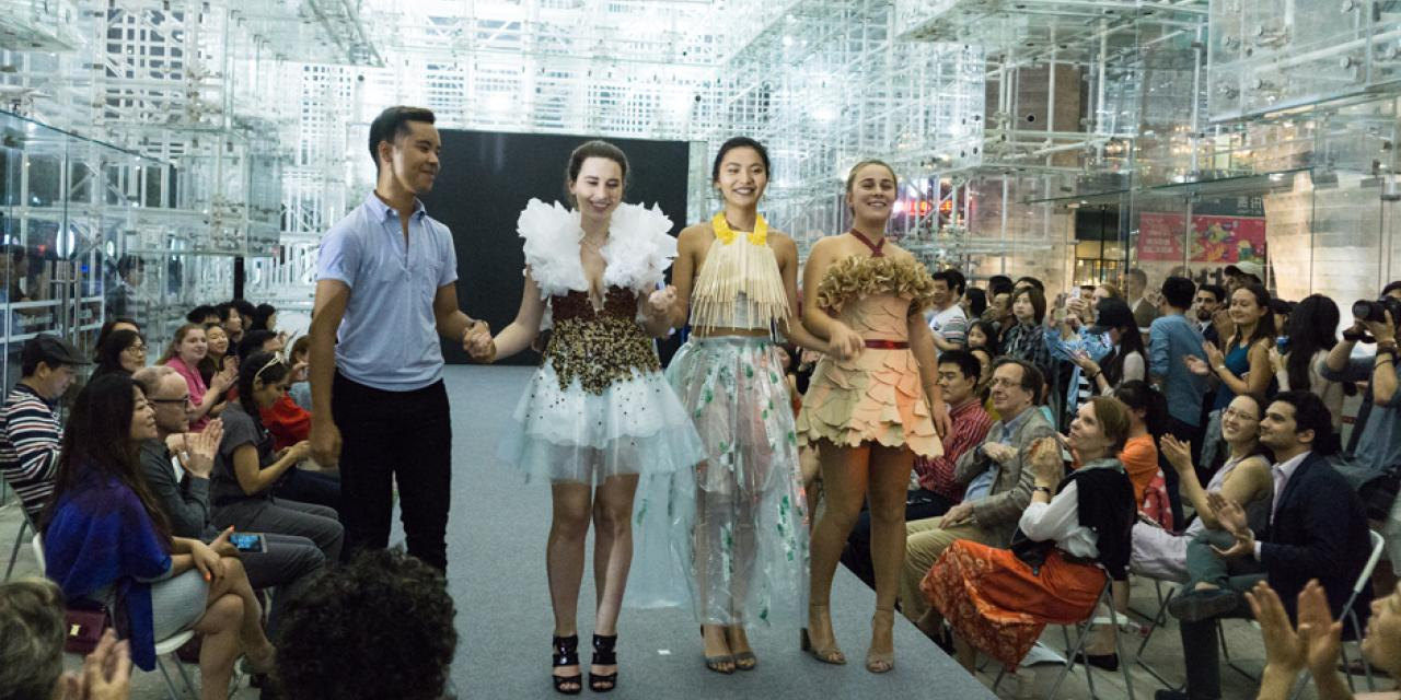 From trash to treasure, GoGreen Week 2017 featured NYU Shanghai students striking a pose with garments made from waste at the Shanghai Himalayas Museum on April 16. The event was co-sponsored by the student-led Green Shanghai club and the Shanghai Project arts program. (Photos by: NYU Shanghai)