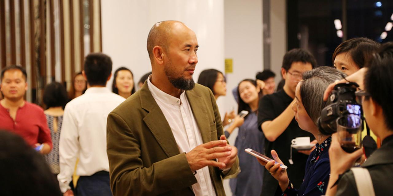 """Ode to Dancing Ink"" of Qin Feng at NYU Shanghai Art Gallery Opening on October 25, 2015.  (Photo by: Wenqian Hu)"