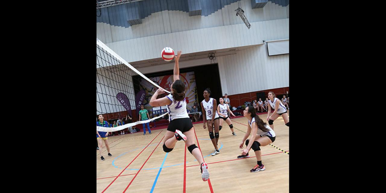 NYU Shanghai faces off against Duke Kunshan University in women's volleyball and men's basketball as part of Viva La Violet Week. April 18, 2015. (Photo by Dylan J Crow)