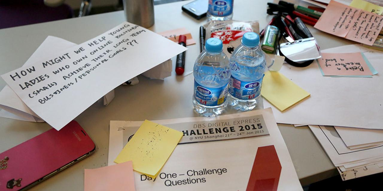 The first-ever DBS Digital Express Challenge at NYU Shanghai provides participants with Design Thinking and Lean Startup methodology training. January 22, 2015. (Photo by Tina Xu)