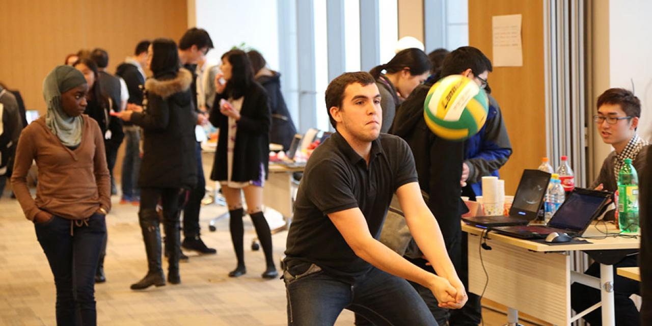 Students gathered in the 15th Floor Colloquium Room to learn about getting involved with NYU Shanghai's many clubs and student organizations. January 30, 2015. (Photo by Dylan J Crow)