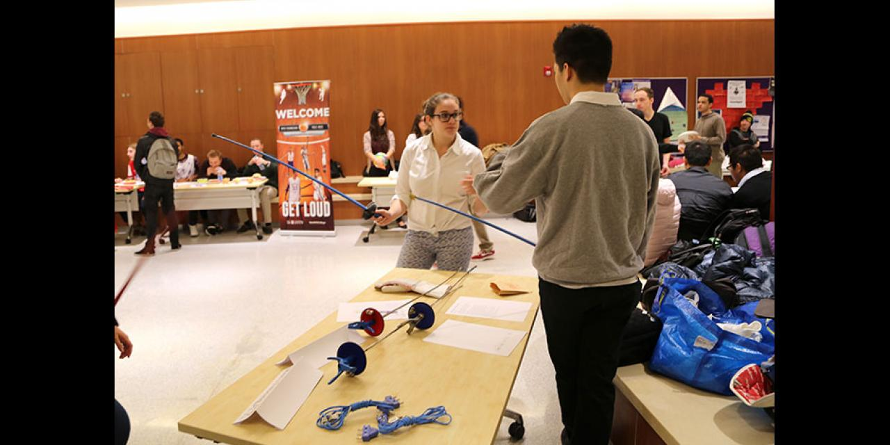 Students explore their athletics and recreation options at the spring semester Sports Fair. February 3, 2015. (Photo by Annie Seaman)
