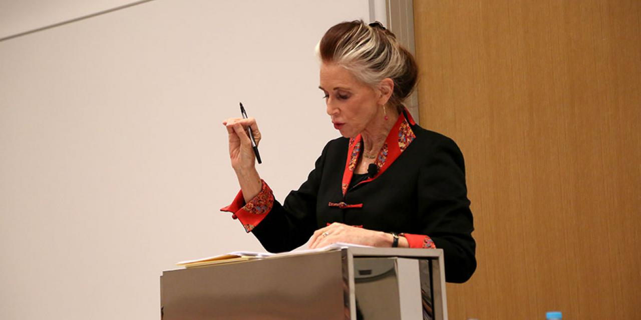 "Professor of Law Catharine MacKinnon speaks on ""Trafficking, Prostitution, and Inequality"" at NYU Shanghai. February 5, 2015. (Photo by Dylan J Crow)"