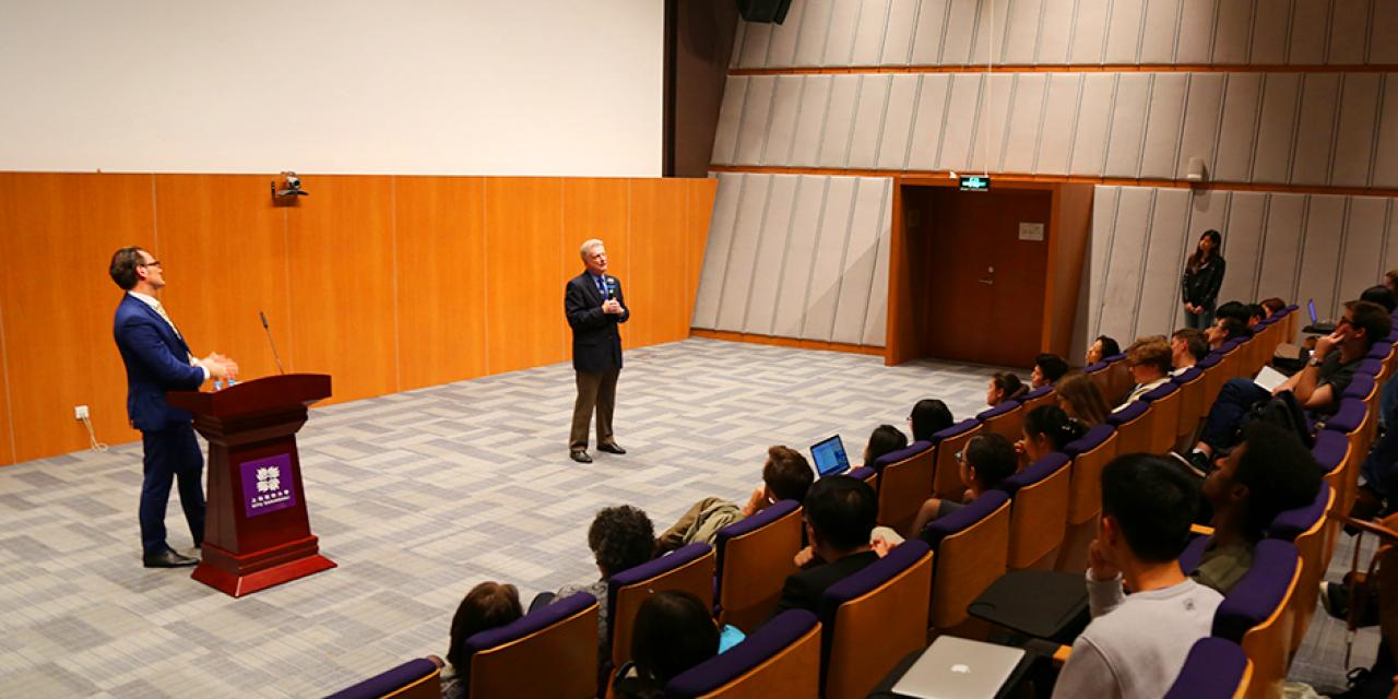 "Dr. Roger D. Launius delivered a talk of ""Robots and Humans in Space: Technology, Evolution, and Interplanetary Travel"" on Thursday, Oct. 29, 2015.  (Photo by: Ibrahim Saeed)"