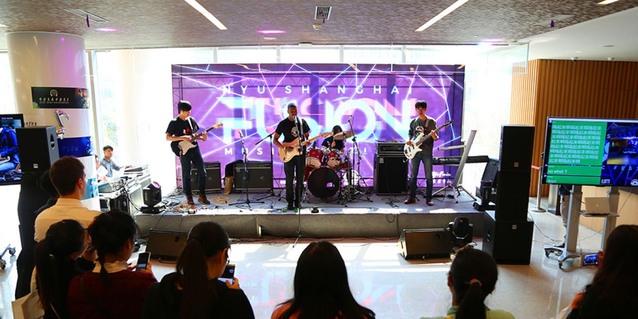 NYU Shanghai hosted the first-ever Fusion Music Festival on March 26, inviting bands from universities across Shanghai to perform speaker-shaking jams. (Photo by: Dylan J Crow)