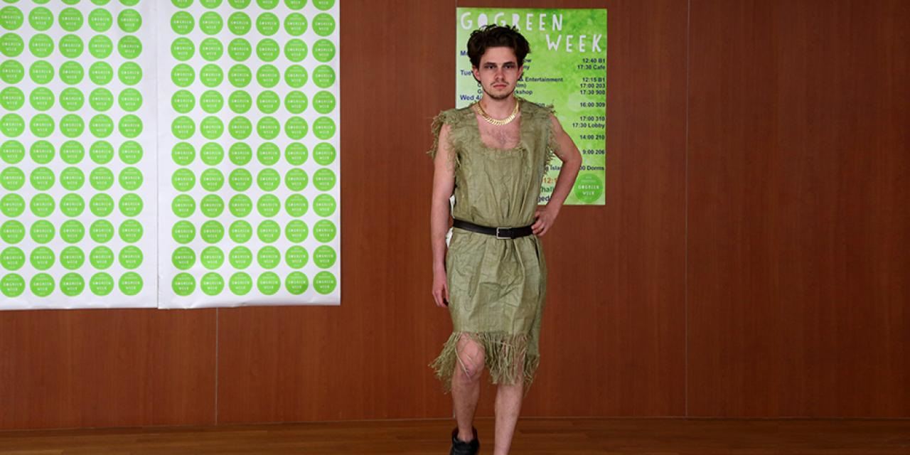 "Students presented a clothing collection made with sustainable principles in mind at the ""Trash Fashion Show"" on April 11 as part of GoGreen Week. (Photo by: Mei Wu)"
