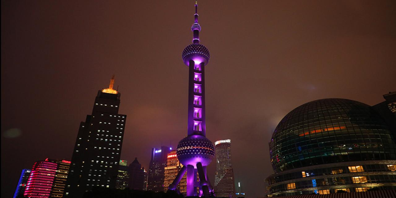 On May 22, the Oriental Pearl Tower shone violet for the graduating class of 2018. (Photo by: NYU Shanghai)