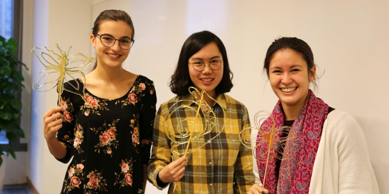 NYU Shanghai students learned the Chinese folk art of sugar painting, a craft which uses melted sugar to create traditional animal and plant figures. Two Shanghainese sugar artists instructed students at the October 26 event. (Photo by: Wenqian Hu)