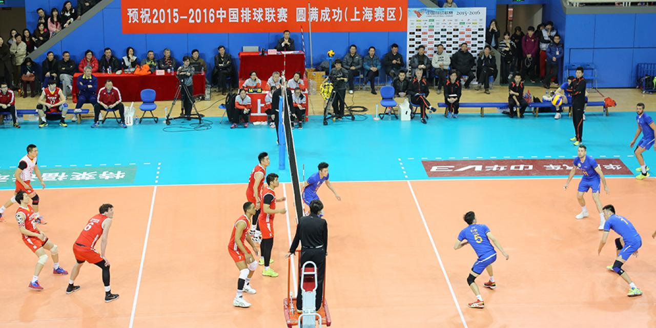 Members of the NYU Shanghai Women's Volleyball Team observed a Chinese Men's Volleyball League match on February 20. The competition saw Shanghai winning the match against Beijing in 3 out of 5 games played. (Photo by: Annie Seaman)