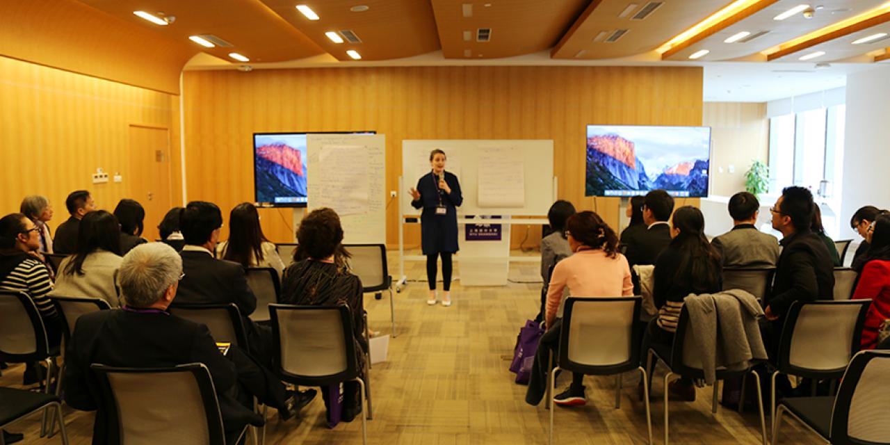 Librarians from six other Sino-foreign universities came together at NYU Shanghai on March 31 to talk about improving library services with IT advances. (Photo by: NYU Shanghai)