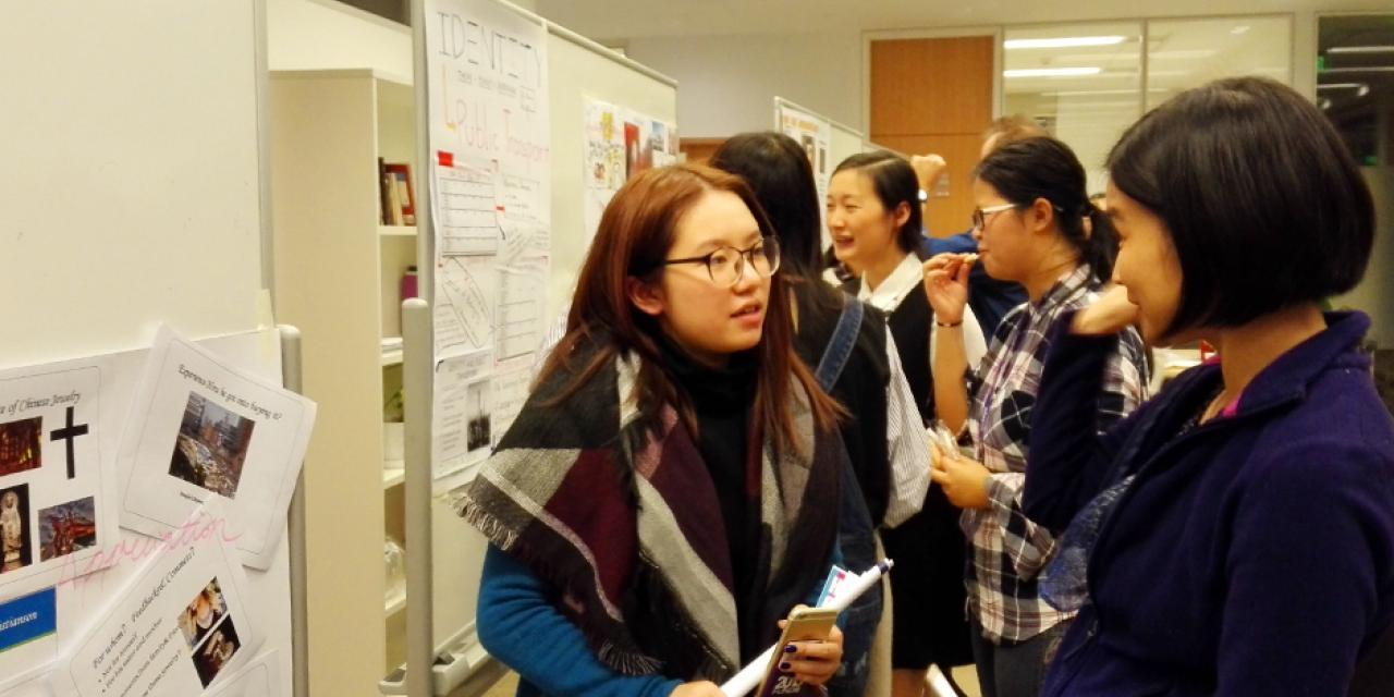 学术英语项目(EAP)的学生在12月12日举办了期末秀,通过商业方案、视频及海报的方式向观众们表达个人想法,汇报一学期以来的学习成果。(摄影:NYU Shanghai)