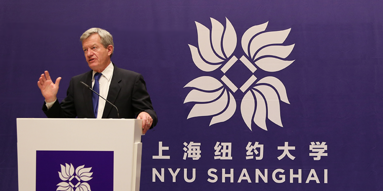 U.S. Ambassador Max Baucus Visits NYU Shanghai, October 7, 2014. (Photo by Dylan J Crow)
