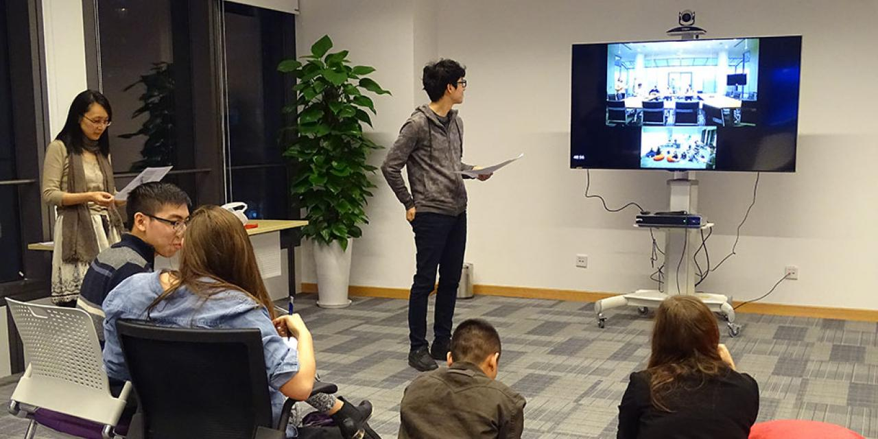 NYU Shanghai and NYU Abu Dhabi students battled each other in the first-ever Game Off competition, featuring Pictionary, charades, trivia contests, and board games. April 16, 2015. (Photo by Danni Wang)