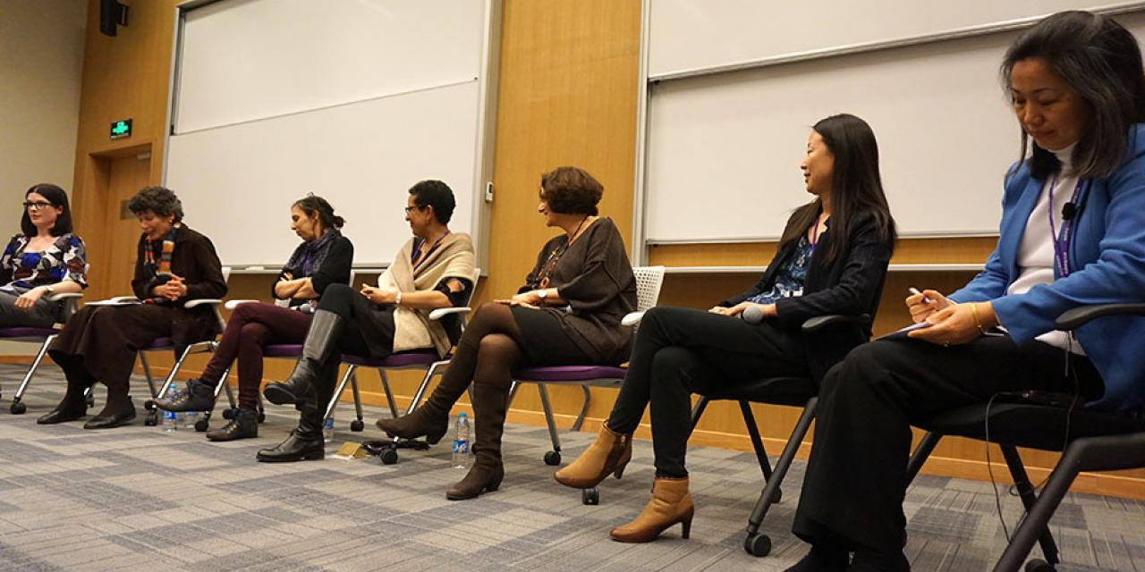 In celebration of International Women's Day, NYU Shanghai university leaders Joanna Waley-Cohen, Hongxia Liu, Charlene Visconti, Jean Wu, Marianne Petit, and Almaz Zelleke discuss their unique career paths. March 9, 2015. (Photo by Sunyi Wang)