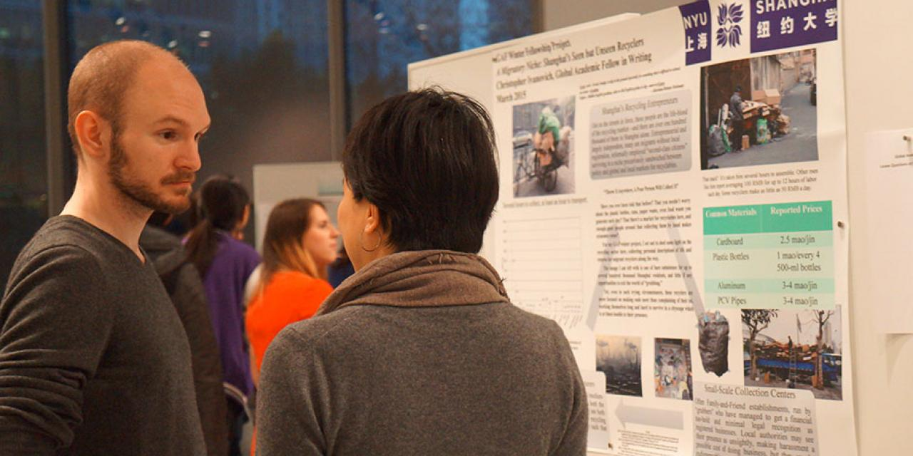 Global Academic Fellows (GAFs) present their Winter Fellowship Projects, a personal or professional research opportunity that contributes to the intellectual life or future development of NYU Shanghai and the GAF Program. March 13, 2015. (Photo by Charlotte San Juan)