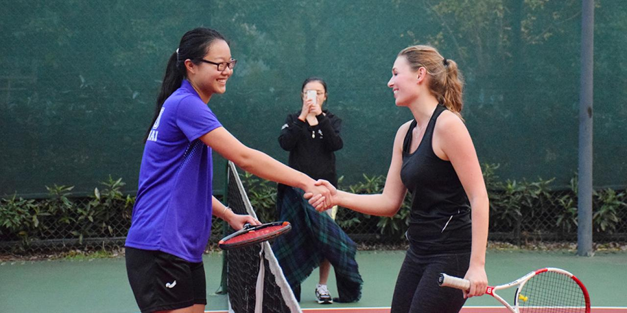 NYU Shanghai Tennis won big in its team debut after a hectic day of action on November 14 at a tournament hosted by Xi'an Liverpool University (Photo by: Jose Reyes)