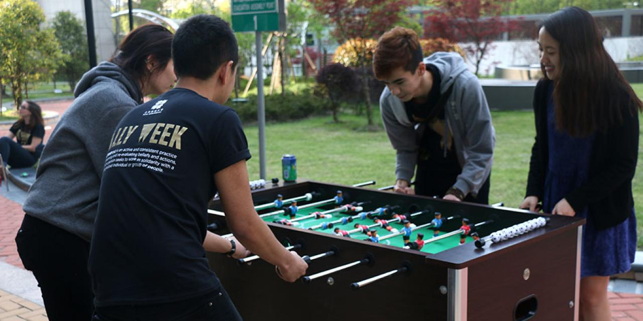 NYU Shanghai kicks off this year's Ally Week with an afternoon picnic bash outside the Academic Building. April 12, 2015. (Photo by Kadallah Burrowes)