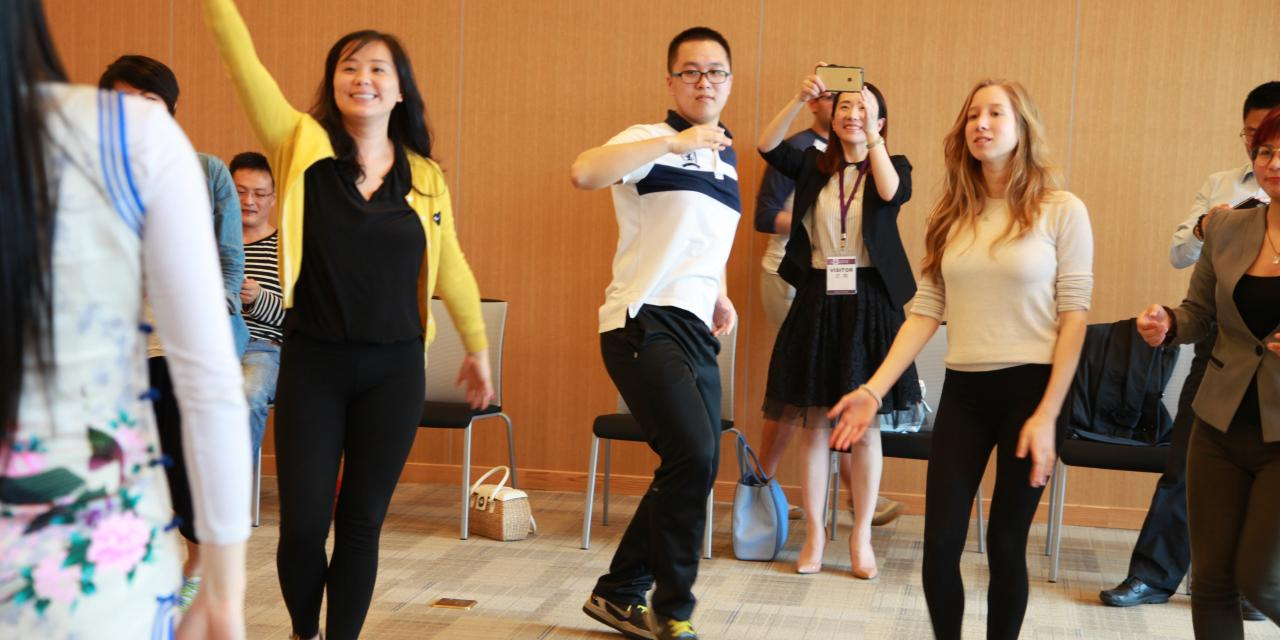 Jenny Yao, founder of YAROSE dance club, teaches the fundamentals of legendary dance, which help balance the body, heart, and soul through simple dance movements. April 30, 2015. (Photo by Danni Wang)