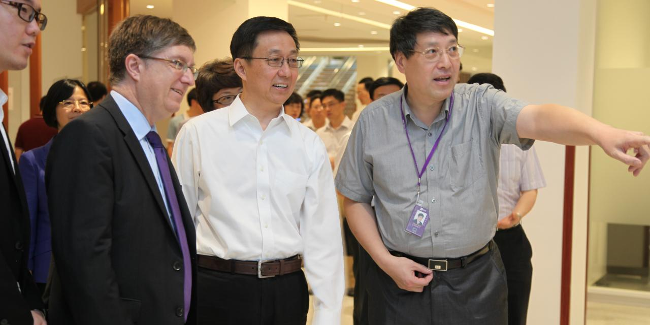 Han Zheng (韩正), Party Chief of Shanghai, Visited NYU Shanghai on September 1, 2014