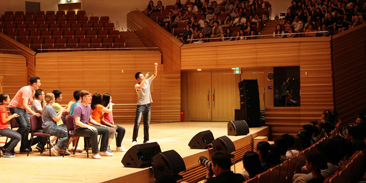 2015 NYU Shanghai Reality Show took place on September 11, 7:30pm, at Shanghai Symphony Hall. The Reality Show is an hour long musical performance created by members of the Class of 2018. (Photo by Ewa Oberska)