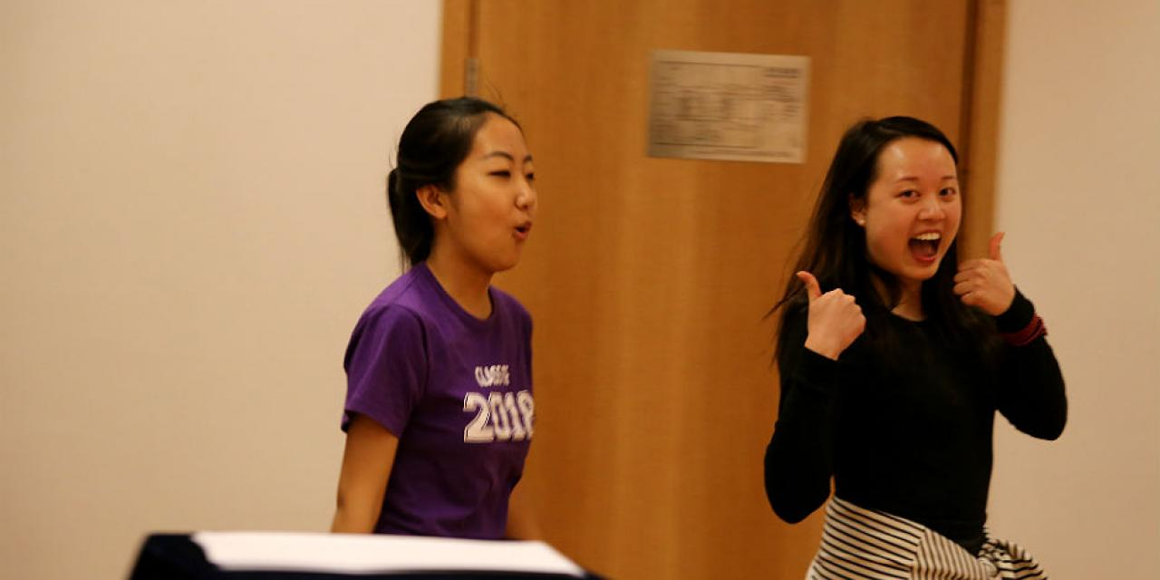 Students audition for the Fall 2015 season of 'Reality Show: Shanghai' for a chance to be a part of a theater production reflecting the challenges and opportunities of being a new NYU Shanghai student. March 13, 2015. (Photo by Kevin Pham)