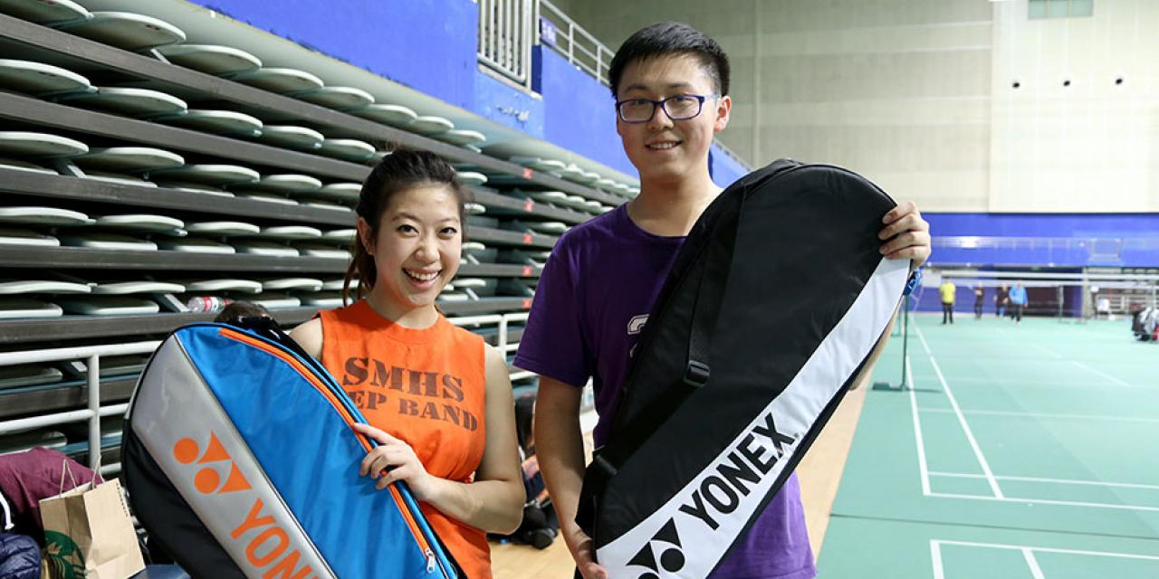 Students compete in the final round of the Intramural Badminton Tournament at Yuanshen Sports Centre Stadium. March 12, 2015. (Photo by Kevin Pham)