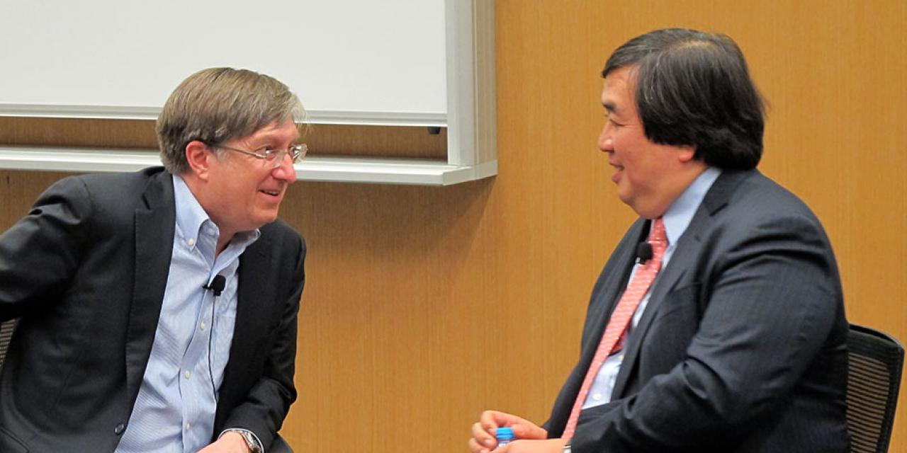 Former Legal Adviser of the US Department of State Harold Koh and NYU Shanghai Vice Chancellor Jeffrey Lehman discuss law school and whom they believe it is appropriate for. March 12, 2015. (Photo by Public Affairs)