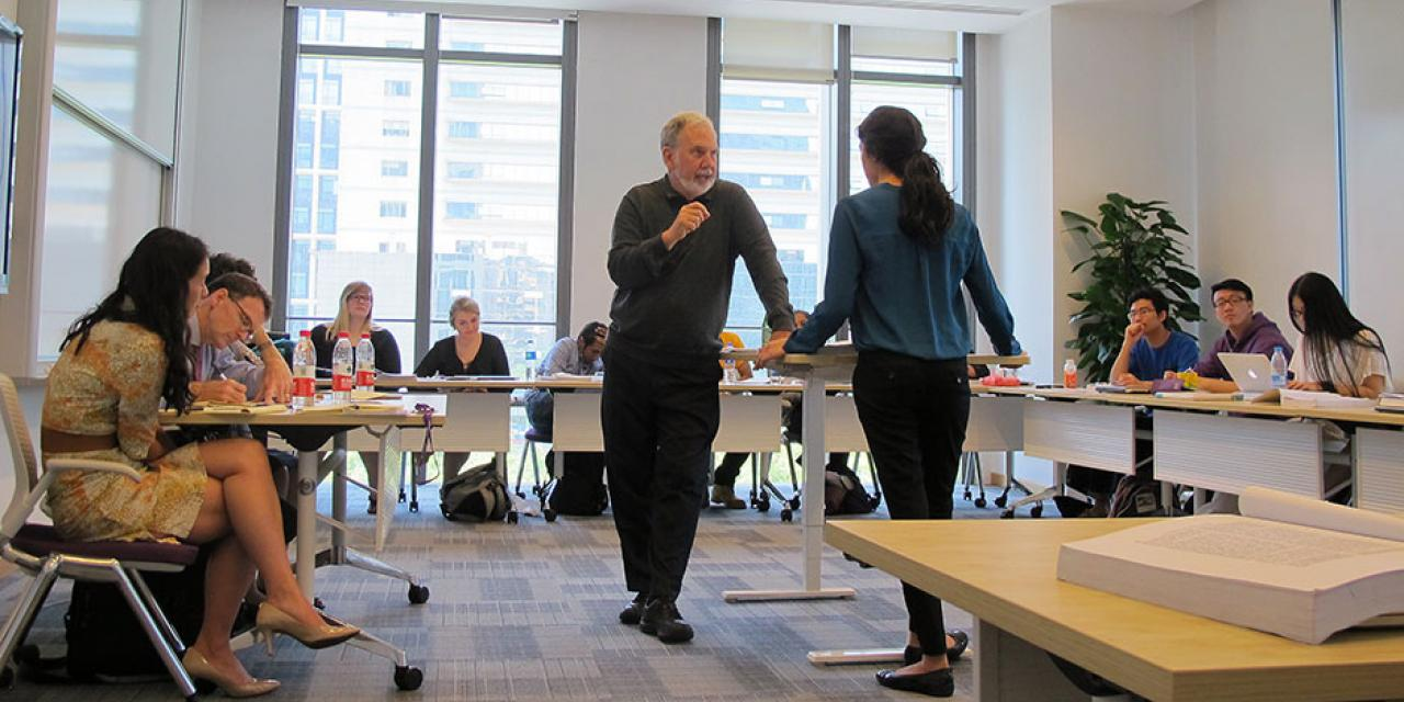 "Students question authority, and the answer is victory. Students debate over ""Steel Cage Match"" with NYU President and Professor John Sexton in his final course in Shanghai. May 13, 2015."