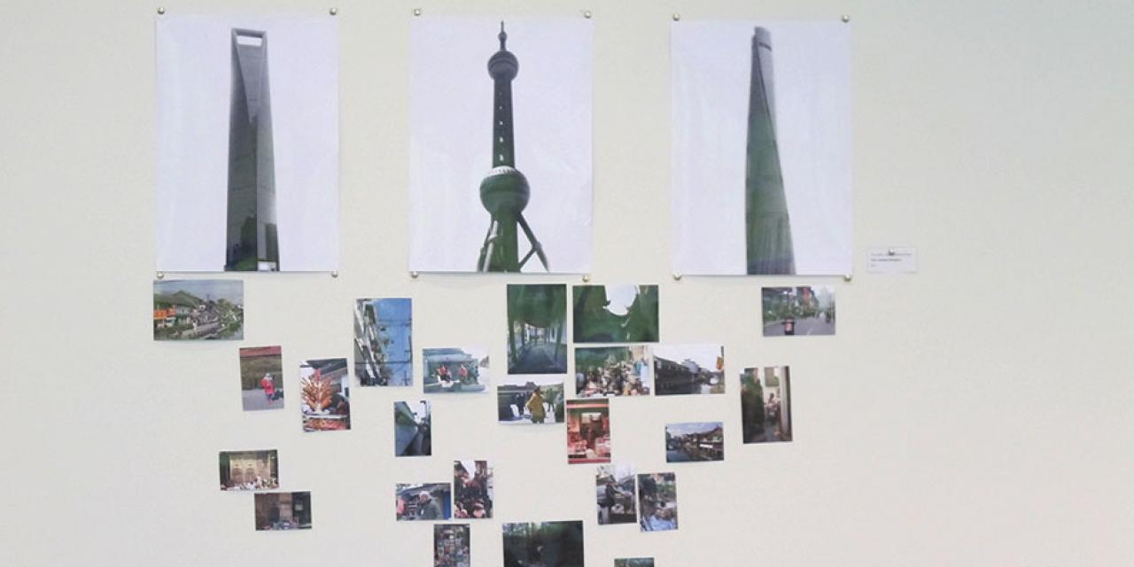 Students display their photo and video projects for NYU Shanghai's latest gallery exhibition. May 13, 2015.