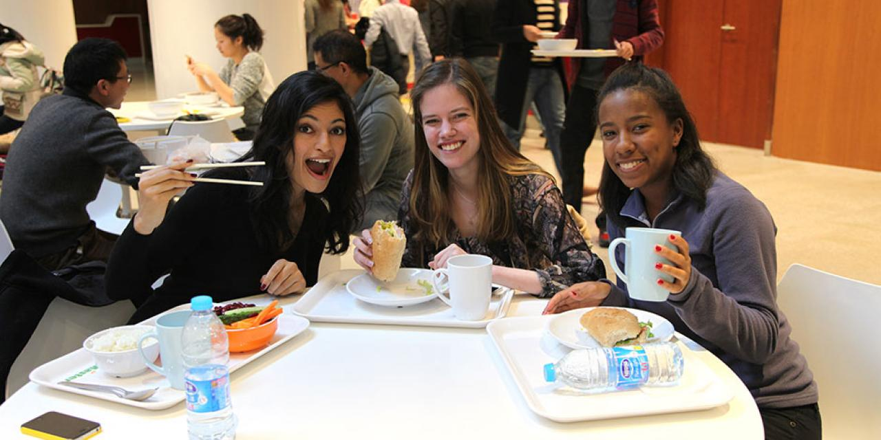 NYU Shanghai's cafeteria now offers a healthier, more diverse range of food options for students, faculty, and staff. Spring 2015. (Photo by Kylee Borger)