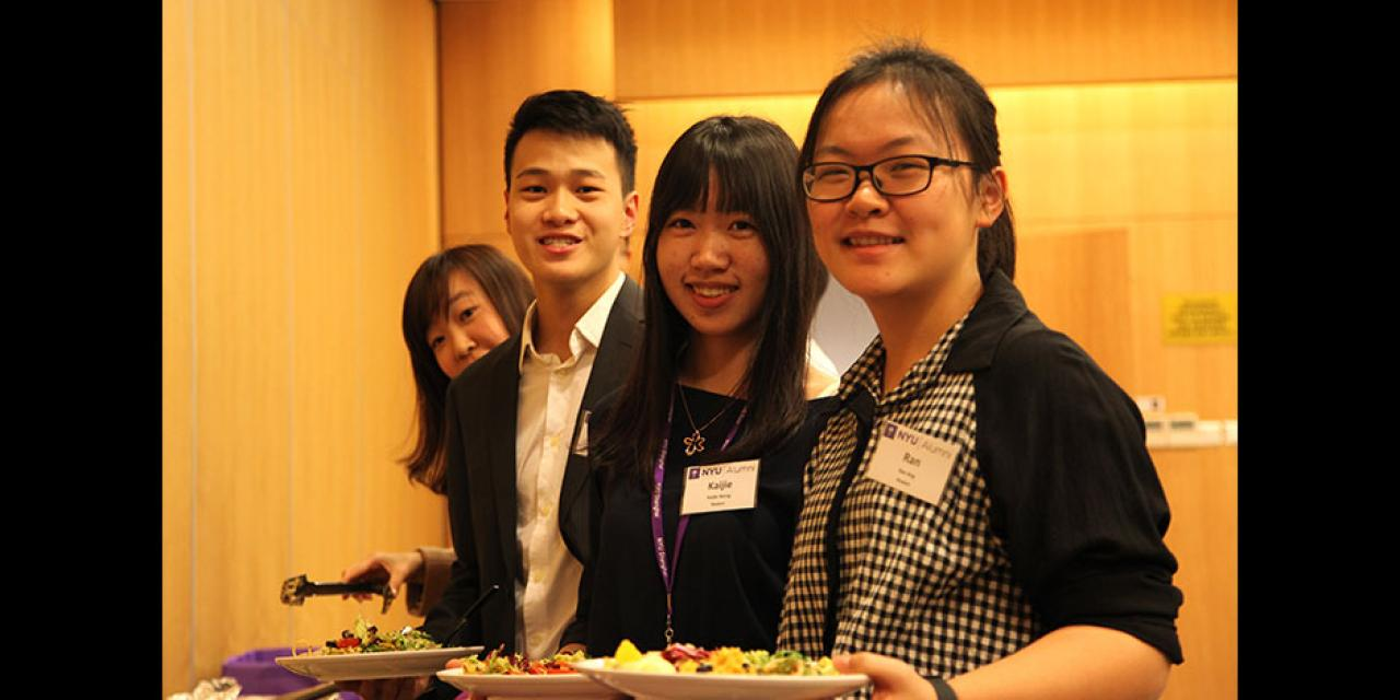 The NYU Alumni Executive Mentor Program, which pairs alumni mentors with current NYU Shanghai students for professional development, launches its inaugural year with a kick-off dinner. Jeff Lehman, Vice Chancellor of NYU Shanghai, praised the participants in their collaboration to improve linkages across the NYU global community. January 29, 2015. (Photo by Xin Wei)