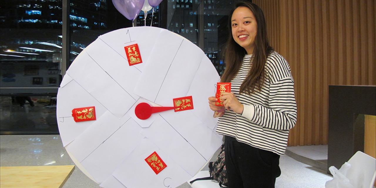 In the spirit of Chinese New Year, students were able to catch up with friends after winter break at the Welcome Back party, celebrating with traditional red envelopes packed with sweet goodies, and challenging friends with a creative basketball hoop dragon's head game. (Photos by: NYU Shanghai)