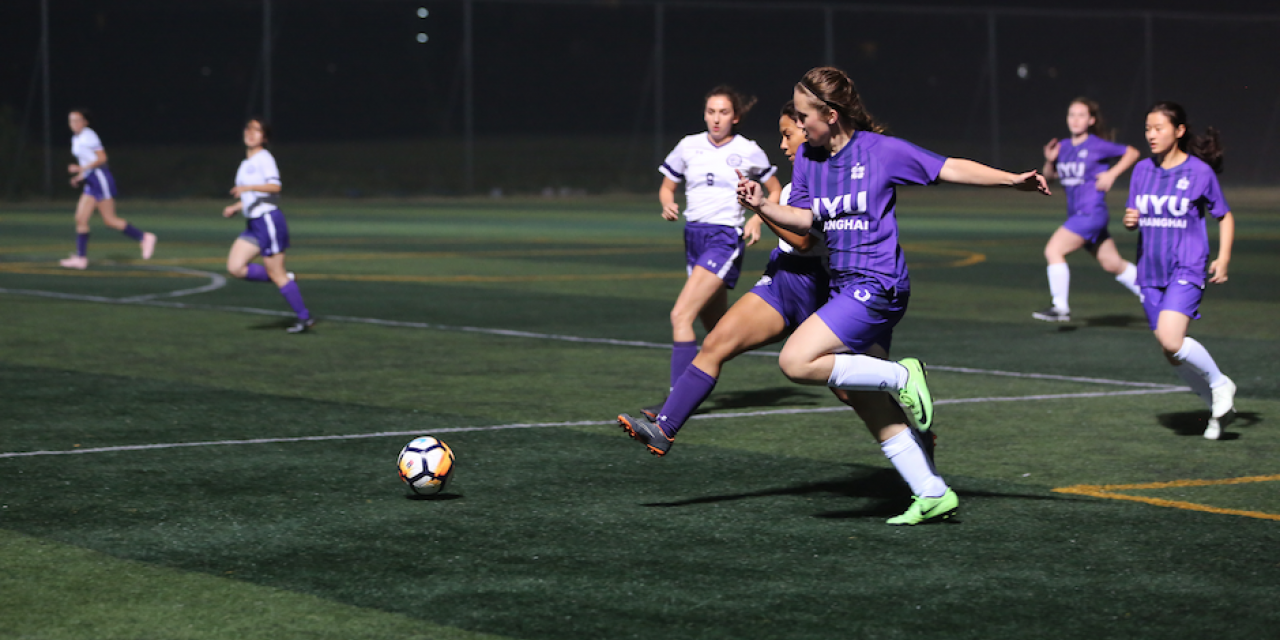 October 23: A historic first encounter of women's soccer teams between the NYU Shanghai Qilins and the NYU Abu Dhabi Falcons.