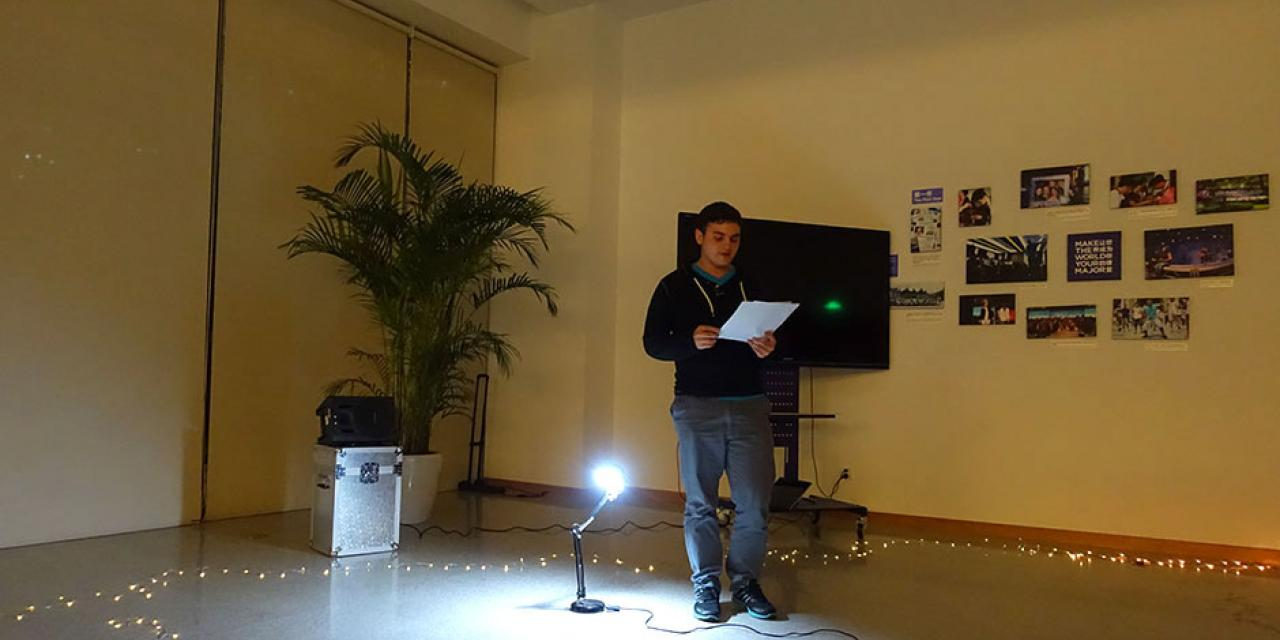 NYU Shanghai students celebrate the art of the spoken word at Fall 2014 Poetry Night. November 24, 2014. (Photo by Yilun Yan)